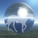 自然を歩く馬と騎手のアイコン 2 競馬フリー素材 競馬ブログ素材のうまぽっと