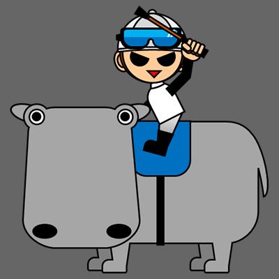 カバに乗る騎手のアイコン(1)画像2