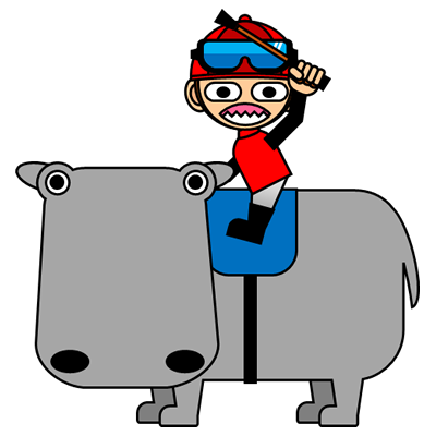 カバに乗る騎手のアイコン(3)画像
