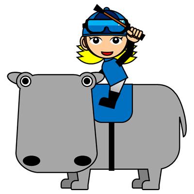 カバに乗る騎手のアイコン(4)画像
