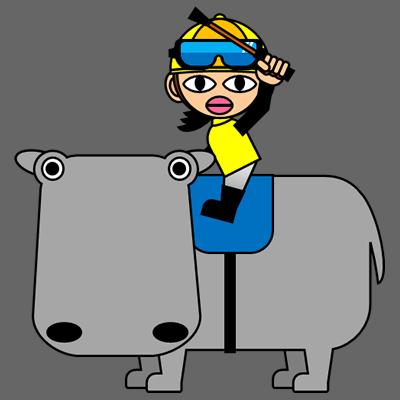 カバに乗る騎手のアイコン(5)画像2