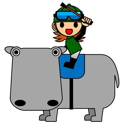 カバに乗る騎手のアイコン(6)画像