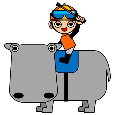 カバに乗る騎手のアイコン(7)画像