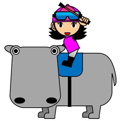 カバに乗る騎手のアイコン(8)画像