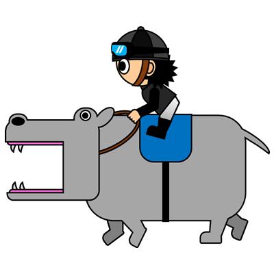 カバを走らせる騎手のアイコン(2)画像