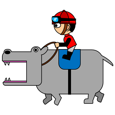 カバを走らせる騎手のアイコン(3)画像