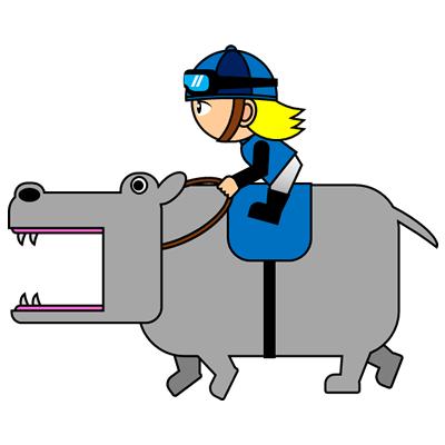 カバを走らせる騎手のアイコン(4)画像