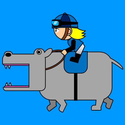 カバを走らせる騎手のアイコン(4)画像4