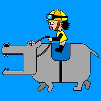 カバを走らせる騎手のアイコン(5)画像4