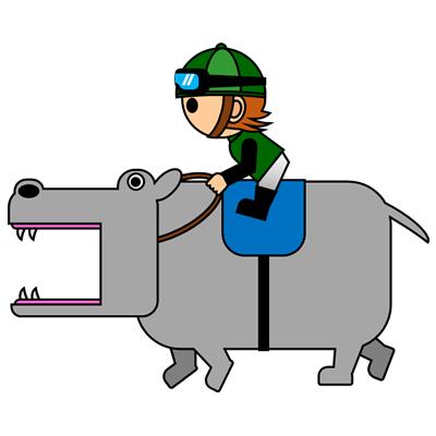 カバを走らせる騎手のアイコン(6)画像