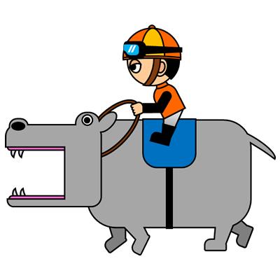 カバを走らせる騎手のアイコン(7)画像