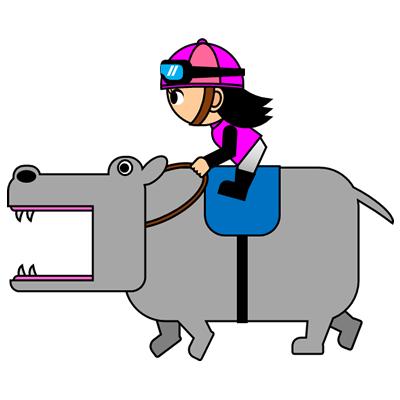カバを走らせる騎手のアイコン(8)画像
