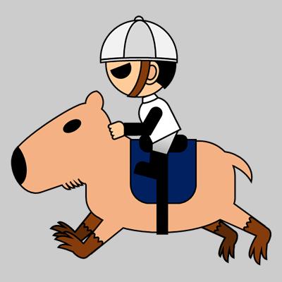 カピバラに乗る騎手のアイコン(1)画像