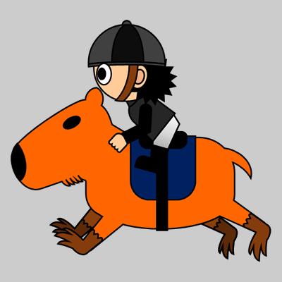 カピバラに乗る騎手のアイコン(2)画像