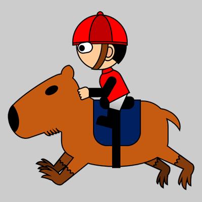 カピバラに乗る騎手のアイコン(3)画像