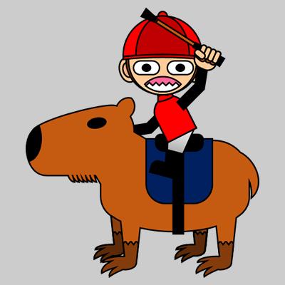 カピバラに乗る騎手のアイコン(11)画像