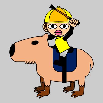 カピバラに乗る騎手のアイコン(13)画像