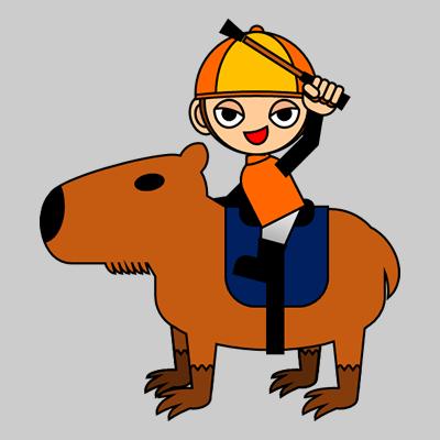 カピバラに乗る騎手のアイコン(15)画像