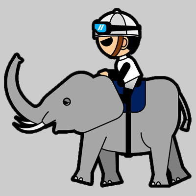 ゾウに乗る騎手のアイコン(1)画像