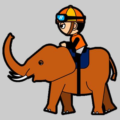 ゾウに乗る騎手のアイコン(7)画像