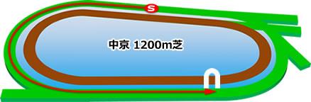 中京1200m芝コース画像