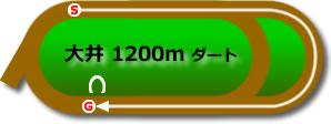 大井競馬場1200mコース画像